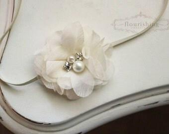 Ivory Chiffon with pearl Flower headband, baby headband, newborn headband, photography prop