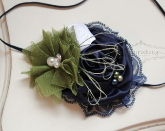 Navy and Olive headband, navy headbands, newborn headbands, lace headbands, photography prop, navy lace headbands