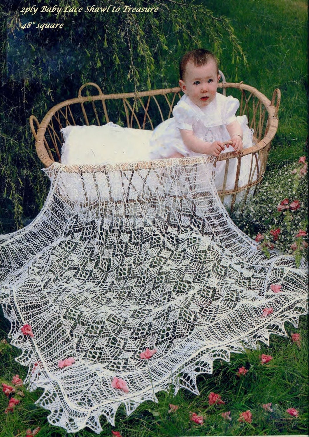 Knitting Pattern For Christening Shawl Free : Baby Shetland Lace shawl for Christening Family Heirloom 2ply