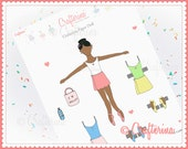 Back to Ballet School Paper Doll PDF - Dark Complexion - Printable - Pretend - Kids Craft