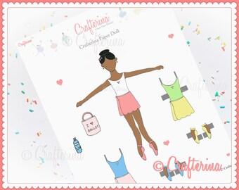 Back to Ballet School Paper Doll PDF - Dark Complexion - Printable - Pretend - Kids Craft