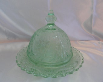 Beautiful mint green butter or cheese done in Tiara Glass by Indiana Glass