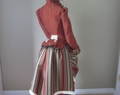 1884 Victorian Bustle Dress Set, 3 Piece with Matching Hat and Reticule - Steampunk, Gothic, Bustle, SASS