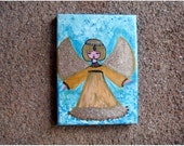 "ON SALE 20% OFF Little Angel 2, Original Mixed Media Painting on 6"" x 9"" Canvas"