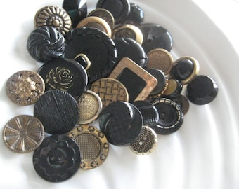 Black and Brass Vintage and Antique Button Collection - 32 unique buttons
