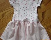 NEW White Onesie Dress  3 months Hand made Carter's Pink butterflies, dots  FREE SHIPPING