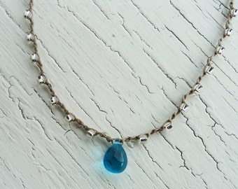 Aqua Tear Drop Crocheted Necklace, Aqua Blue and Silver Crochet jewelry, Beach Necklace, Coastal Jewelry, Tear Drop Pendant, Boho Jewelry