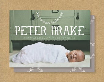 Baby Boy Birth Announcement - Rustic Olive Branch Antlers