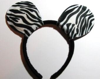 Set of 6 - Zebra Mickey Mouse ear headbands-READY TO SHIP