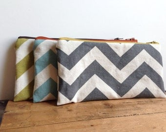 Gray Chevron Pencil Pouch, Grey Yellow Pencil Case, Back to School