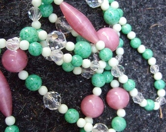 Dramatic Long Glass & Crystal Beaded Necklace c 1960