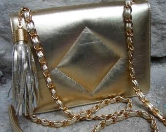 Gold Metallic Quilted Vinyl Handbag c 1980