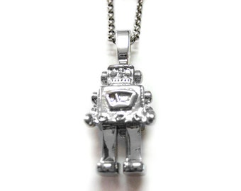 Metal Robot Pendant Necklace
