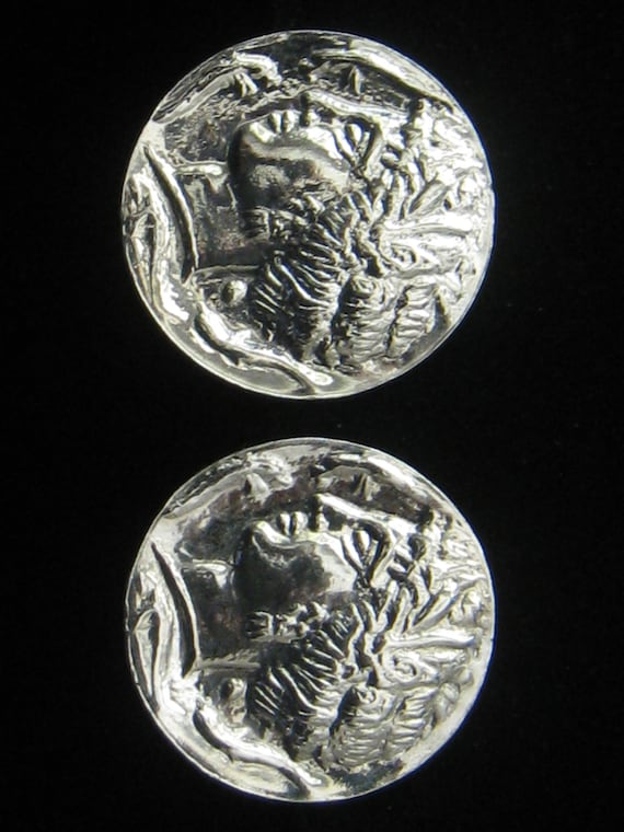 """CLEARANCE Vintage Silver tone Coin Look Earrings have Stamped Ancient Greek or Roman style Profile.  1.25"""" Diameter."""
