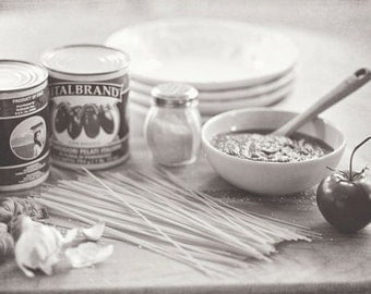Food Photography - Kitchen Art - Pasta - Italian - Still Life - Fine Art Photography Prints - Black & White Kitchen Decor