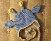 Crochet Baby Newborn Blue Boy Giraffe Hat with Earflaps Made to order