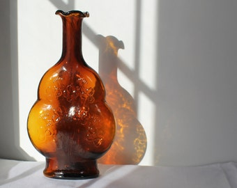 Vintage Fluted Glass Amber Brown Bottle with Embossed Flower Motif