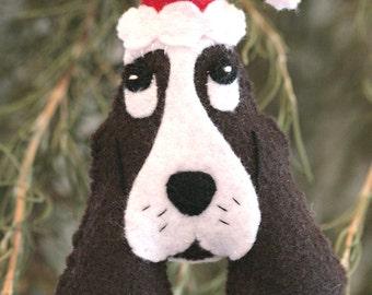 Super Cute Felt Basset Hound Dog with Santa Hat Ornament