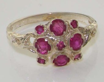 VINTAGE Design 925 Solid Sterling Silver Natural Ruby Unique Cluster Ring - Designed & Made in England - Customizable