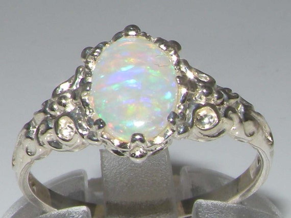 Luxurious Solid 9K White Gold Natural Fiery Opal by GemsofLondon