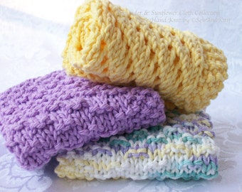 Wash Cloths, Spa Cloth, Lace Face Cloth Collection - Hand Knit French Provencal Country Kitchen or Bath Lavender, Yellow & Ombre Cotton Yarn