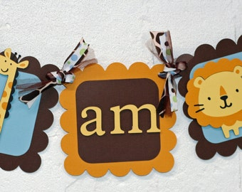 Jungle I am 1 Banner, Jungle Highchair Banner, I am 1 Banner, Jungle Birthday, First Birthday, Zoo Highchair Banner, Safari Banner, I am 1