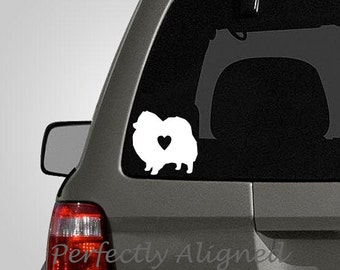 Love your Pomaranian - silhouette with heart vinyl car decal - pet decal, dog decal, macbook decal, etc...
