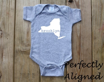 New York Home State with BROOKLYN Unisex Infant Bodysuit/Creeper - Baby Boys or Girls