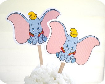 Baby Dumbo Cupcake Toppers - Set of 10 - Dumbo Party-Dumbo Birthday-Dumbo Baby Shower-Elephant Baby Shower-Elephant Party-Dumbo Gift Tags