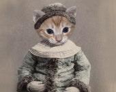 Sooki - Vintage Cat 5x7 Print - Altered Photograph - Whimsical Cat Art - Digital Art - Anthropomorphic - Gift Idea - Unusual Photo