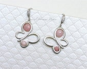 October Birthstone Earrings, Shaded Pink Opal Faceted Rondelles, Silver Butterfly Charm, Silver-filled Wire, Silver Earwires with CZ. E106
