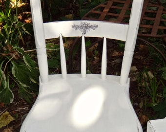Angel Chair, White Chair, Decoupaged Furniture, Rustic French Country, Painted Furniture, White Chair, Cottage Chic, Shabby Chair Casa Karma