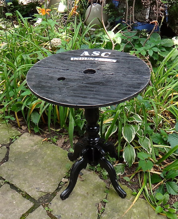 Round Table Industrial Painted Table Accent Table
