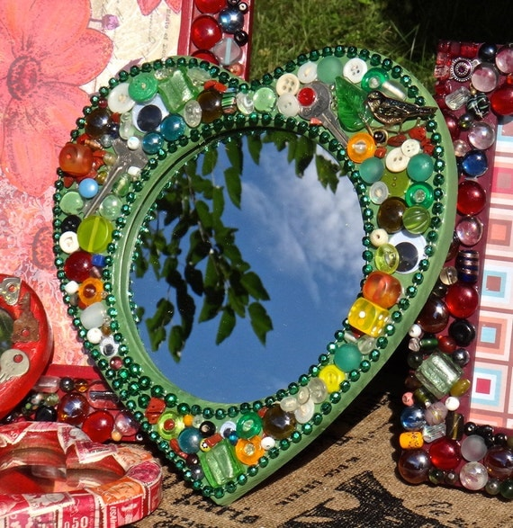Heart Mirror Mosaic Mirror Collage Mirror Beaded Frame Green Mosaic