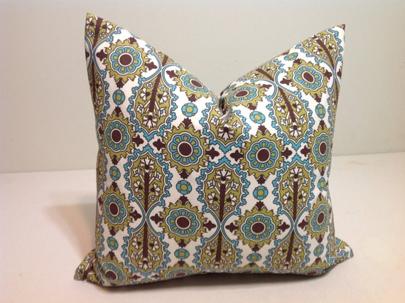 Decorative throw pillow cover designer fabric chocolate by - Fabric for throw pillows ...