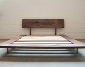 Solid Wood Platform Frame Bed - Walnut or White Oak