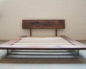 Solid Wood Platform Frame Bed - Walnut or White Oak