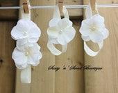 Cream Ivory Hydrangea Blossoms Swarovski pearl centers flower Headband barefoot sandals shoes Newborn Baby Gift Perfect Photo shoot prop