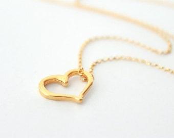 Gold Heart Necklace - Minimalist 14k Gold Filled Necklace, Vermeil Open Heart Pendant, Valentines Day, Anniversary, Wife Girlfriend Under 40