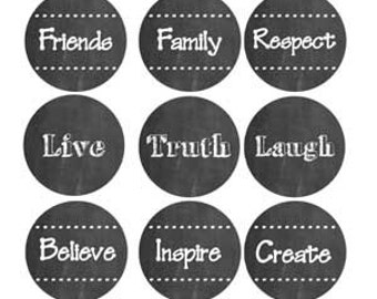 Chalkboard Graphics Inspirational Quotes Instant Digital Download 25mm Round Circle Graphic 4x6 Sheet.  Great for Glass Crafts