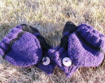 Convertible Mittens / Fingerless Gloves / Hand Knit - Black and Purple Stripes Colorblock