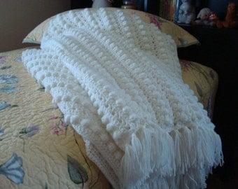Brigid Aran Afghan - Soft White
