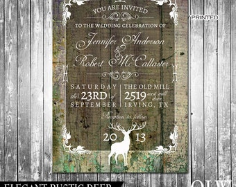 Rustic Wedding Invitation - Deer, Wood, Fall, Hunter- Digital Invitation