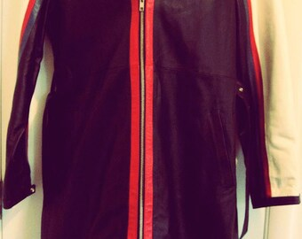 Newport News Womens 100% Leather Red White Blue & Black Long Jacket Size L/XL