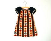 Girls Peasant Dress / Black, Orange and Gold Fall Floral / sizes 0-6m - 3T / Made to Order