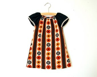 Girls Peasant Dress / Black, Orange and Gold Fall Floral / sizes 0-6m - 4T / Made to Order