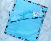 Baby Boy Burp Cloth Set of 2 in Blue Minky and Blue Terry Cloth Dinosaur Binding