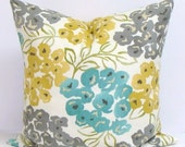 TEAL.GRAY.Yellow.PILLOW.16x16 inch.Housewares.Pillows.Flowers.Home Decor.Floral Pillow Covers.Turquoise.Gold.Yellow.Gray.Cream.Green.Teal.Cm