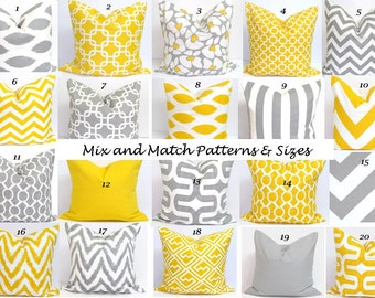 Gray.Yellow PILLOW.ALL SIZES.Decorative Pillow Cushions.Home Decor.Grey.Yellow.Pillow Cover.Euro.Cushions.Home Decor.Large.Small Pillows