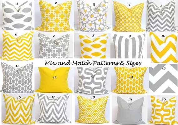 Gray.Yellow Pillows.ALL SIZES.Decorator Pillow Cushions